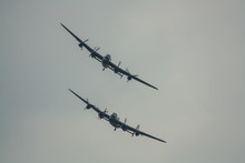 The Last Two Remaining Airworthy Avro Lancasters Heavy Bombers Performing A Duet In The Skies