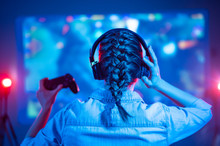 Gamer Girl With Headphones Wit...