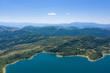 aerial view of lake campotosto in the mountain area of gran sasso italy