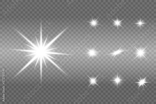 Fototapeta White sparks glitter special light effect. Vector sparkles on transparent background. Christmas abstract pattern. Sparkling magic dust particles obraz na płótnie