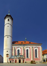 Domazlice, Czech Republic - Tower Of The Church Of The Nativity Of The Virgin Mary In The Peace Square At The Center Of The Town.
