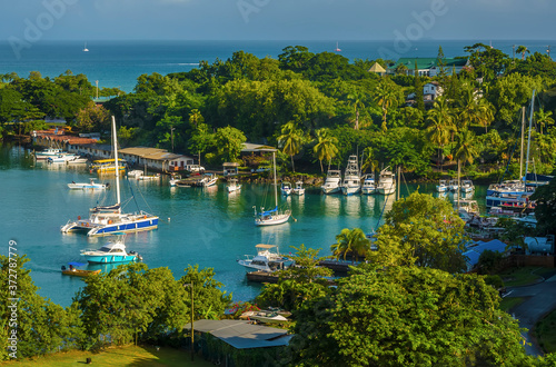 A view of yachts and boats moored on an inner waterway in Castries, St Lucia Wallpaper Mural