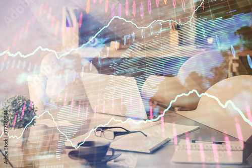 Multi exposure of stock market chart drawing and office interior background Fototapeta