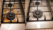 Dirty Gas Stove Stained While Cooking, A Stove In Grease. Unsanitary Conditions, A Mess In The House. Collage Before And After Cleaning From Dirt.