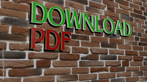 Платно DOWNLOAD PDF text on textured wall, 3D illustration for icon and design