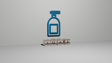 Soap 3D Icon On The Wall And Cubic Letters On The Floor, 3D Illustration For Background And Bubbles