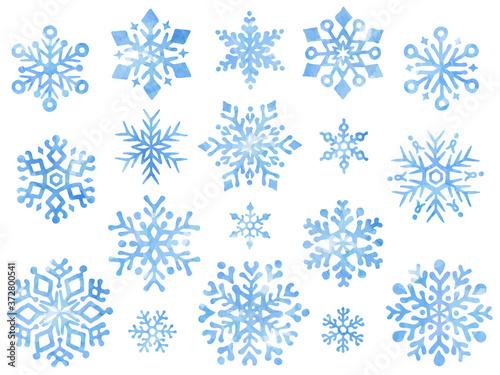 Fototapeta 雪の結晶の水彩風イラストセット