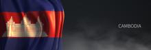 Cambodia Flag With Dark Backgr...