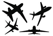 Avión Icono De Vector, Diferentes Vistas De Un Avión, ángulos De Vistas De Un Avión, Siluetas