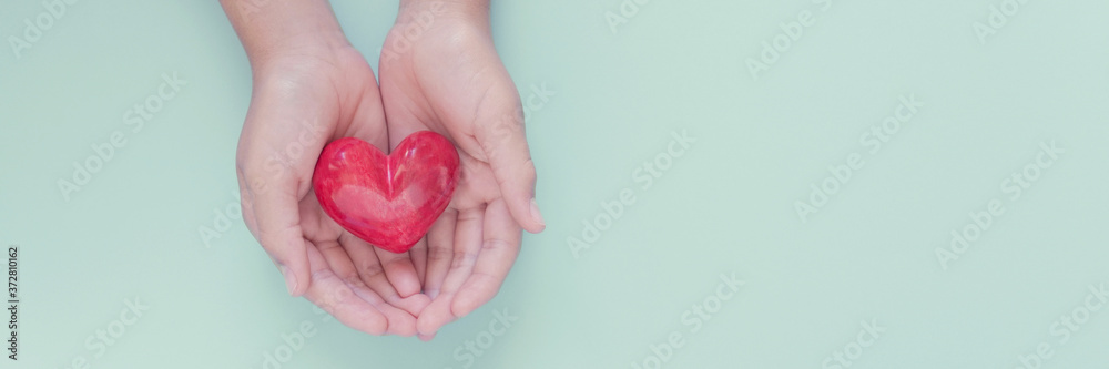 Fototapeta hands holding red heart, health care, love, organ donation, family insurance,CSR,world heart day, world health day, wellbeing, gratitude, be kind,be thankful, covid-19, coronavirus relief concept