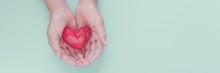 Hands Holding Red Heart, Healt...