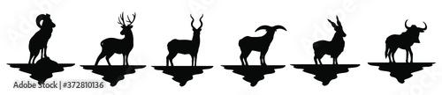 Fotografie, Obraz siervos icono de vector, cabras, renos, diferentes animales con cachos, animales