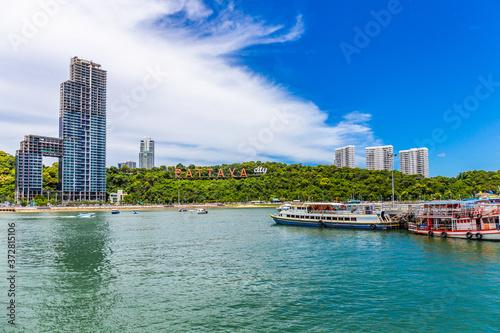 Fototapeta Aerial vie of Pattaya city sign on the mountain, Pattaya Thailand