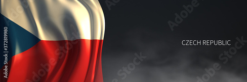 Obraz na płótnie Czech Flag with Dark Background