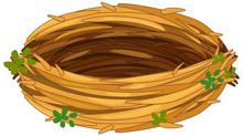 Isolated Empty Bird Nest On Wh...