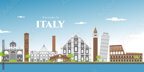 Photo Landscape panoramic of Italy with Piza square buildings, Campanile and Cathedral of Pisa Cathedral (Duomo di Pisa)