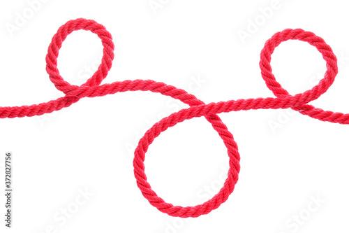 Long rope on white background Fototapeta