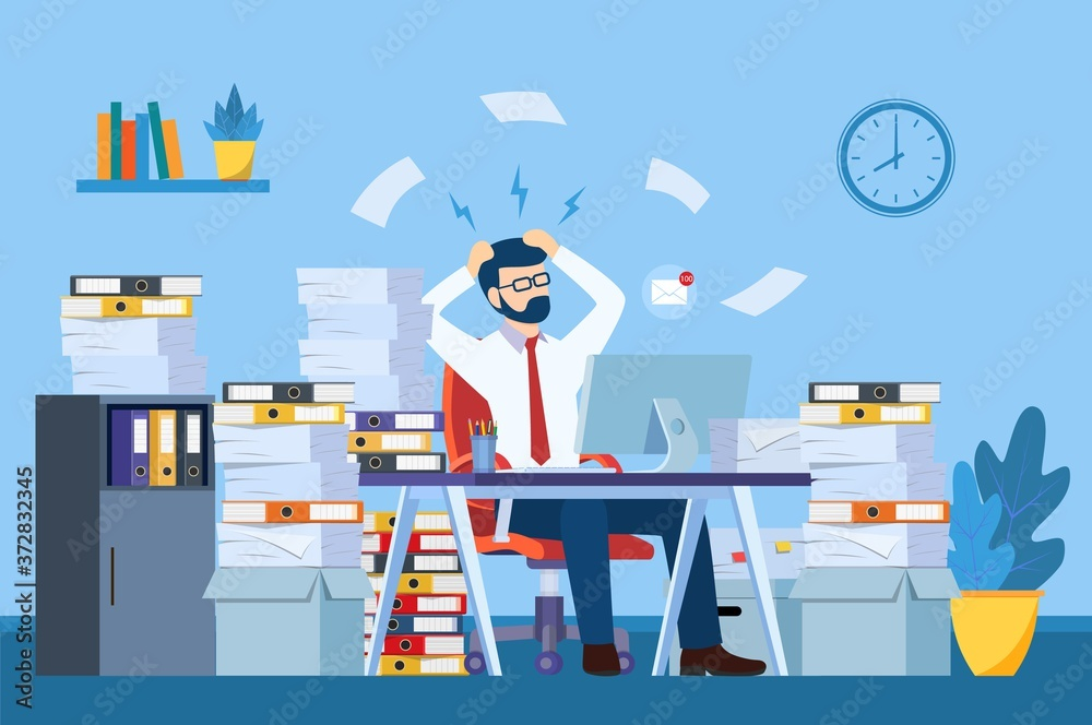 Fototapeta Tired and exasperated office worker is grabbed his head among piles of papers and documents. Stress in the office. Rush work. Vector illustration in flat style
