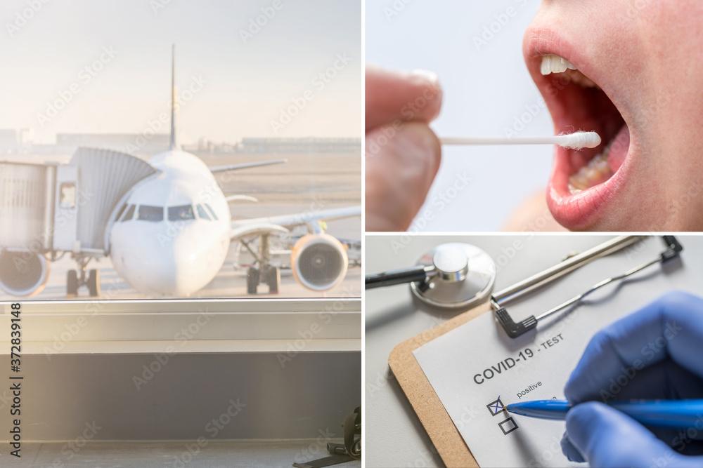 Fototapeta Corona Test bei Flugreisen zur eindämmung der Covid 19 Pandemie