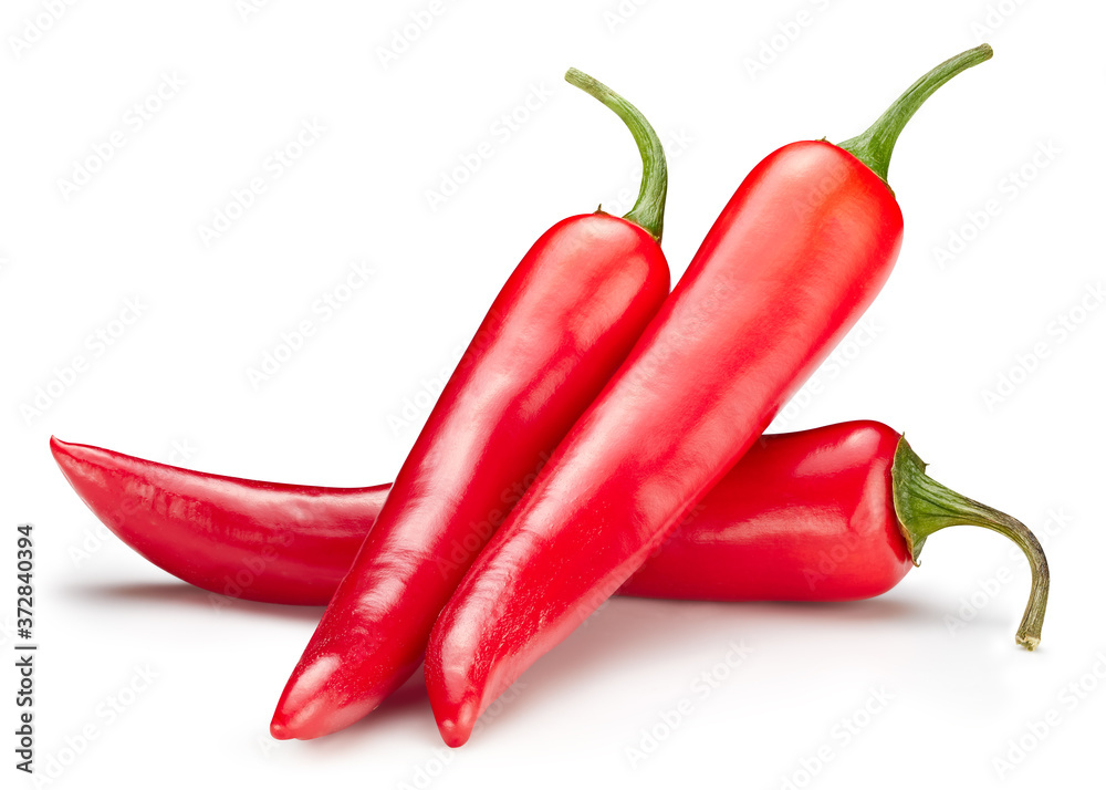 Fototapeta Chili macro studio photo. Ripe red hot chili peppers vegetable isolated on white background. Hot peppers chili composition with clipping path.