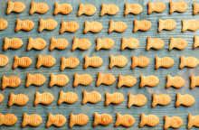 Delicious Goldfish Crackers On Blue Wooden Table, Flat Lay
