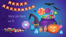 Halloween Banner With Pumpkins...