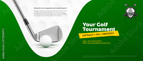 Invitation template for golf tournament with ball and stick #372846973