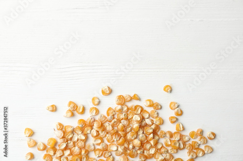 Raw dry corn seeds and space for text on white wooden background, flat lay Fototapeta