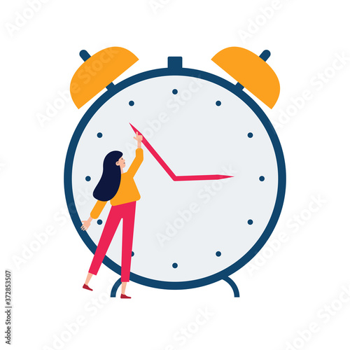 Obraz Daylight saving time concept. Young woman turn the hand of the clock. Turning to winter or summer time, alarm clock vector illustration. Character in modern flat art style for your small people design - fototapety do salonu