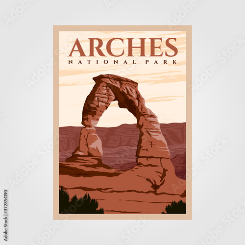 Photo arches national park outdoor adventure vintage poster illustration designs