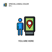 You Are Here Special Lineal Color Icon. Illustration Symbol Design Template For Web Mobile UI Element. Perfect Color Modern Pictogram On Editable Stroke.