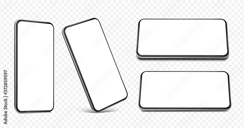 Fototapeta Smartphone frameless blank screen set - perspective view, standing on the corner, horizontal view standing on edge and lying flat  - isolated on transparent white background vector eps 10