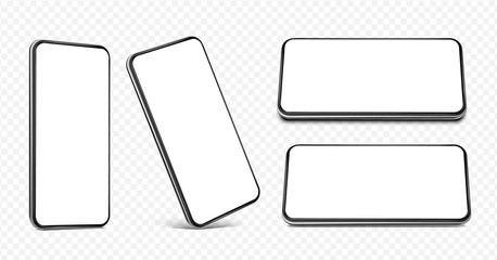 Smartphone frameless blank screen set - perspective view, standing on the corner, horizontal view standing on edge and lying flat  - isolated on transparent white background vector eps 10