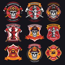 Firefighter Patches Set. Badges With Skulls In Helmets, Axes, Hydrant, Red Heraldry With Ribbons. Vector Illustrations Collection For Firemen, Fire Department, Rescue Concept