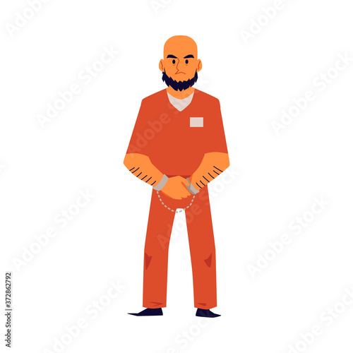 Photo Angry criminal man in orange prison uniform and handcuffs