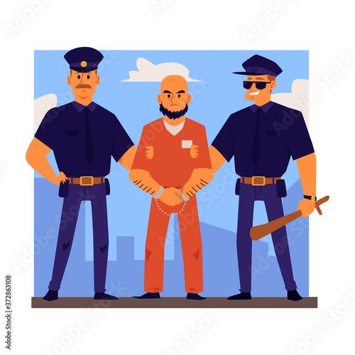 Police officers characters arrest or escort criminal flat vector illustration Wallpaper Mural