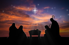 Christmas Nativity Scene Of Baby Jesus In The Manger With Joseph, Mary And Shepherds