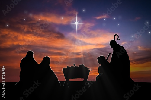 Christmas nativity scene of baby Jesus in the manger with Joseph, Mary and sheph Fototapete