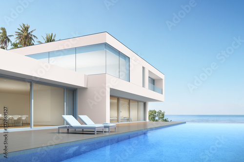 Obraz na plátně 3d render of beach house with swimming pool on sea background, Modern exterior