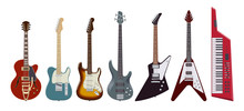 Guitar Set. Realistic Electric Guitars On White Background. Musical Instruments. Vector Illustration.