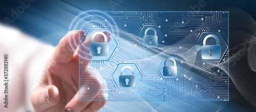Fotografie, Obraz Woman touching a data security concept
