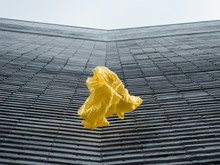 Thrown Yellow Fabric In Front Of Grey Structured Modern Building
