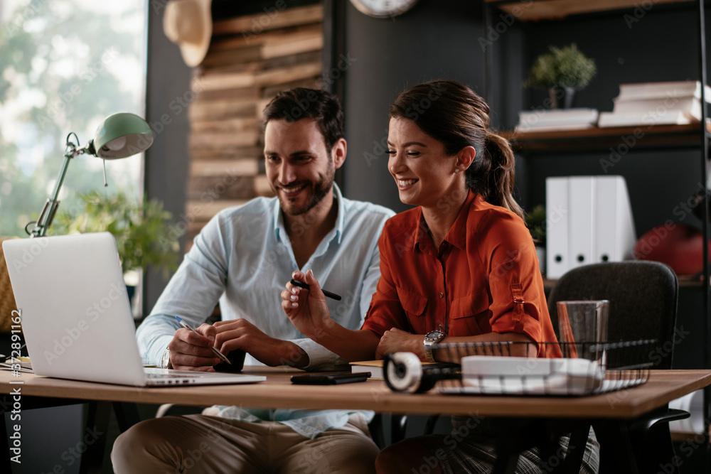 Fototapeta Businessman and businesswoman in office. Businesswoman and businessman working on lap top.