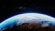 Planet earth from outer space spinning in the cosmos. 3D render animation. NASA images. World globe global environment in stars galaxy cosmos, science universe exploration of atmosphere astronomy