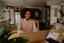 Successful Young Businesswoman Entrepreneur Working On Laptop From Home Office Space