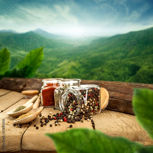 Fotografie, Obraz Wooden table of free space and green landscape of mountains