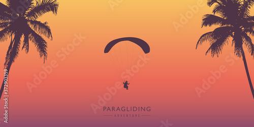 Tela paragliding adventure between palm trees vector illustration EPS10