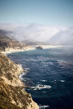 Amazing Vertical Shot Of Little Sur River Beach, Big Sur, California, USA