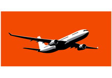 Airbus A330. Modern Airliner. Commercial Jet Take Off. Vector Image For Illustration.