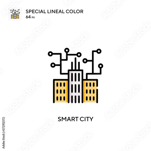 Smart city Special lineal color icon Fotobehang